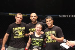 MMA Fighter Jamie Moyle With Her Corner TEAM After TUFF-N-UFF WIN in 2014
