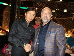 UFC CEO Lorenzo Fertitta with Pancrease MMA Japan CEO Mr. Sakai ringside at recent TUFF-N-UFF